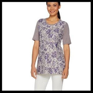LOGO Lounge French Terry Top w/ Printed Lace